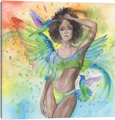Woman And Hummingbird Watercolor Canvas Art Print