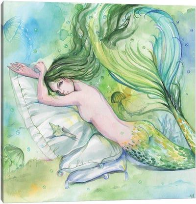 Naked Green Mermaid Canvas Art Print
