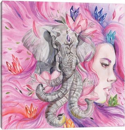 Woman Portrait, Elephant And Seven Chakras Canvas Art Print