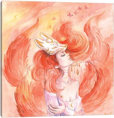 Woman Fox Kitsune Canvas Art Print