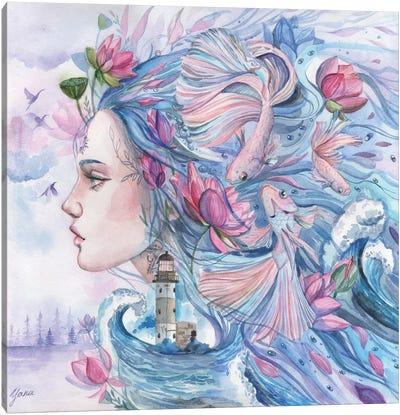 Portrait Goddess Sea With Fish And Lotuses Canvas Art Print
