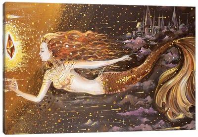 Golden Mermaid And Crystal Canvas Art Print