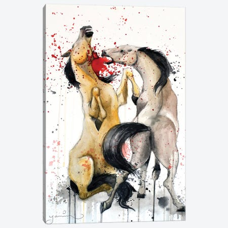 Horse Fight 3-Piece Canvas #YAR11} by Yanin Ruibal Canvas Wall Art