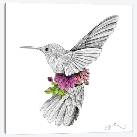 Hummingbird And Dhalias Canvas Print #YAR12} by Yanin Ruibal Canvas Wall Art