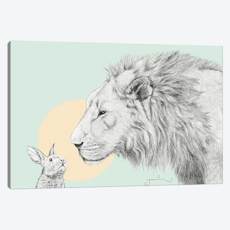 Lion And Bunny Canvas Print #YAR13} by Yanin Ruibal Canvas Artwork