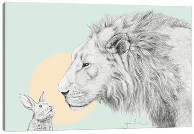 Lion And Bunny Canvas Art Print
