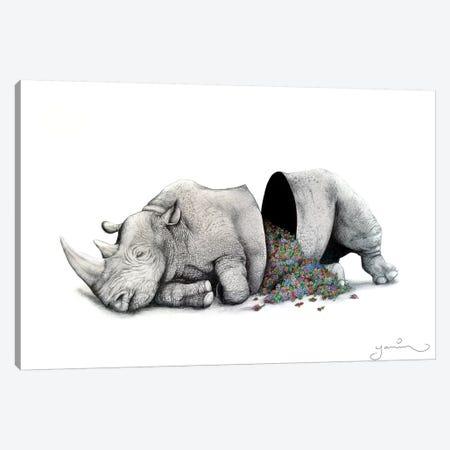 Sleeping Rhino Piñata Canvas Print #YAR23} by Yanin Ruibal Canvas Art Print