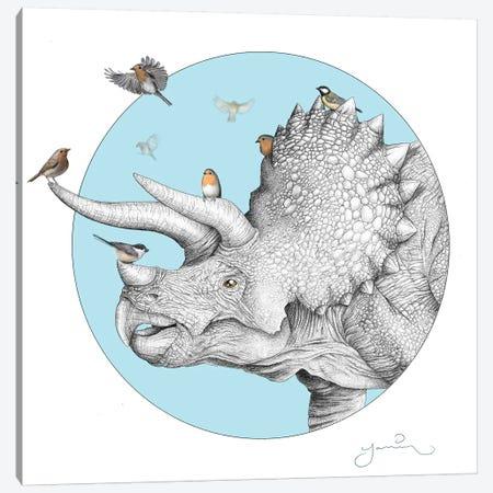 Triceratops And Birdies Canvas Print #YAR26} by Yanin Ruibal Canvas Art