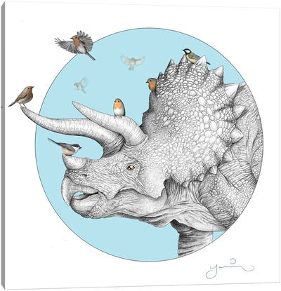Triceratops And Birdies Canvas Art Print