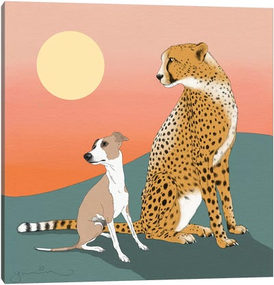 Aurelio And A Cheetah Canvas Art Print