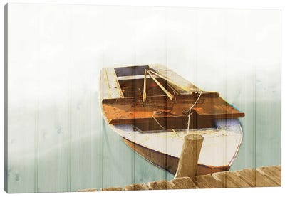 Boat With Textured Wood Look II Canvas Art Print