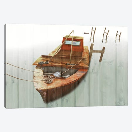 Boat With Textured Wood Look III Canvas Print #YBM15} by Ynon Mabat Canvas Wall Art