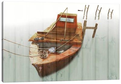 Boat With Textured Wood Look III Canvas Art Print