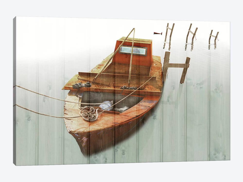 Boat With Textured Wood Look III by Ynon Mabat 1-piece Canvas Print