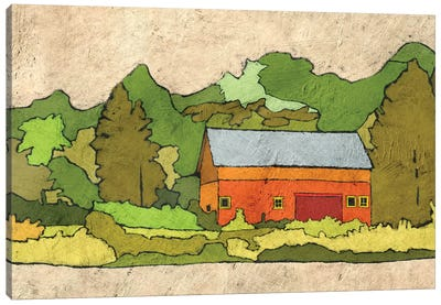 Cabin In The Green Forest Canvas Art Print