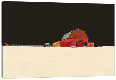 Farmhouse At Night Canvas Art Print