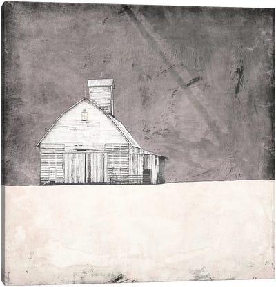 Farmhouse Under Grey Skies Canvas Art Print