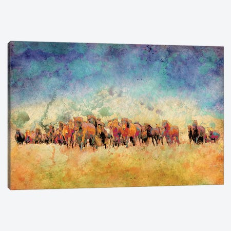 Horse Herd Canvas Print #YBM31} by Ynon Mabat Art Print