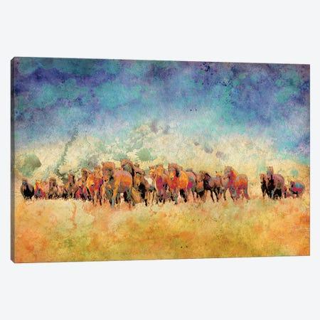 Horse Herd Canvas Print #YBM31} by Ynon Mabat Art Print