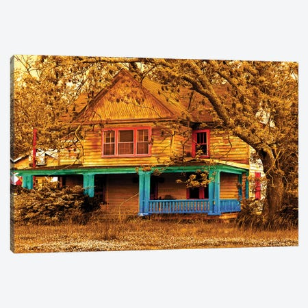 Porch In Blues Canvas Print #YBM53} by Ynon Mabat Canvas Art Print