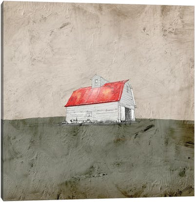 Red And White Barn Canvas Art Print