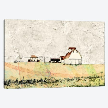 White Barn In The Field Canvas Print #YBM77} by Ynon Mabat Canvas Artwork