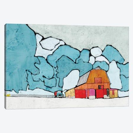 Barn Under Blue Skies Canvas Print #YBM7} by Ynon Mabat Canvas Wall Art