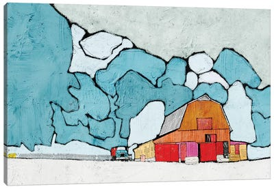 Barn Under Blue Skies Canvas Art Print