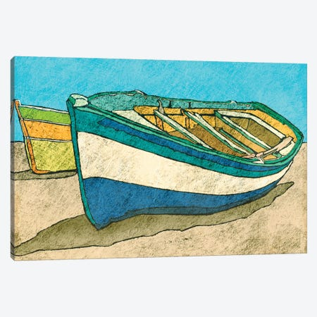 Blue Rowboat Canvas Print #YBM9} by Ynon Mabat Canvas Art Print