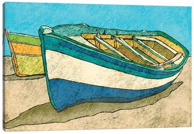 Blue Rowboat Canvas Art Print