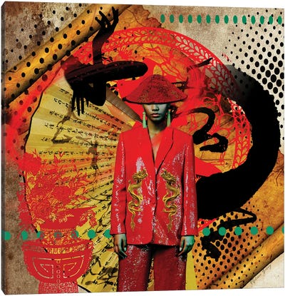Black China Canvas Art Print