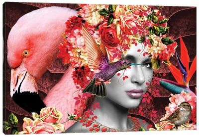 Flamingo Rose In Bloom Canvas Art Print