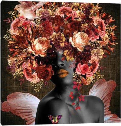 Angel In The Garden - Women In Bloom Canvas Art Print