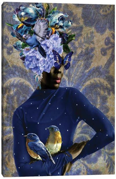 Women In Bloom - Blue Birds Sing Canvas Art Print