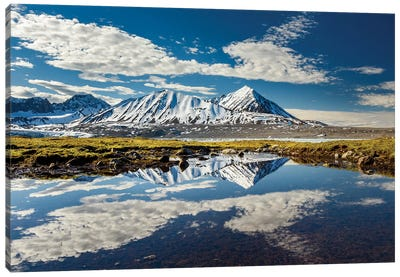 Norway, Svalbard, Spitsbergen. 14Th July Glacier, Mountain And Cloud Reflections. Canvas Art Print
