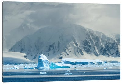 Antarctica, Antarctic Peninsula, Andvord Bay. Iceberg And Mountain Landscape. Canvas Art Print