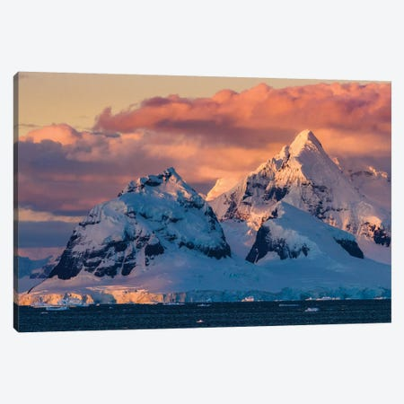 Antarctica, Antarctic Peninsula, Lemaire Channel, Glaciated, Mountain At Sunset. Canvas Print #YCH24} by Yuri Choufour Art Print