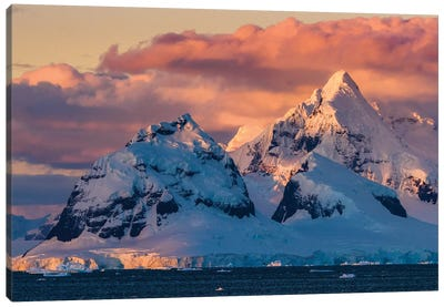 Antarctica, Antarctic Peninsula, Lemaire Channel, Glaciated, Mountain At Sunset. Canvas Art Print