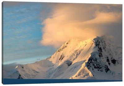 Antarctic Peninsula, Antarctica, Damoy Point. Hiker At Sunset. Canvas Art Print