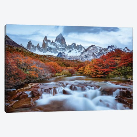 Argentina, Los Glaciares National Park. Mt. Fitz Roy And Lenga Beech Trees In Fall. Canvas Print #YCH32} by Yuri Choufour Canvas Art Print