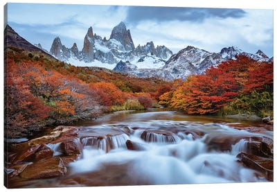 Argentina, Los Glaciares National Park. Mt. Fitz Roy And Lenga Beech Trees In Fall. Canvas Art Print