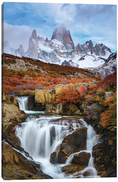 Argentina, Los Glaciares National Park. Mt. Fitz Roy And Waterfall In Fall. Canvas Art Print