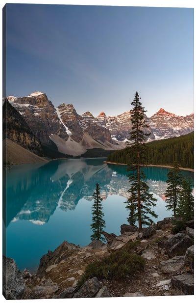 Canada, Alberta, Banff National Park, Moraine Lake At Sunrise. Canvas Art Print