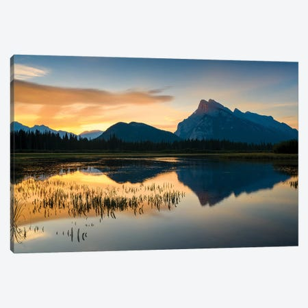Canada, Alberta, Banff, Vermillion Lakes, Mount Rundle Sunrise Reflection. Canvas Print #YCH37} by Yuri Choufour Canvas Artwork