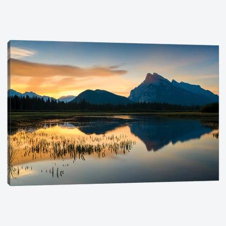 Canada, Alberta, Banff, Vermillion Lakes, Mount Rundle Sunrise Reflection. Canvas Print #YCH37} by Yuri Choufour Canvas Artwork