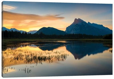Canada, Alberta, Banff, Vermillion Lakes, Mount Rundle Sunrise Reflection. Canvas Art Print