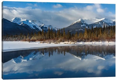 Canada, Alberta, Banff. Vermillion Lakes With Mountain Reflection In Winter. Canvas Art Print