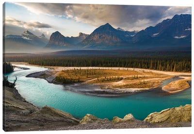 Canada, Alberta, Jasper National Park. Athabasca River Valley At First Light. Canvas Art Print