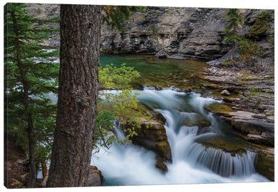 Canada, Alberta, Jasper National Park. Maligne Canyon Waterfall. Canvas Art Print