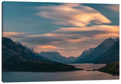 Canada, Alberta, Waterton Lakes National Park. Sunset Over Waterton Lake. Canvas Art Print